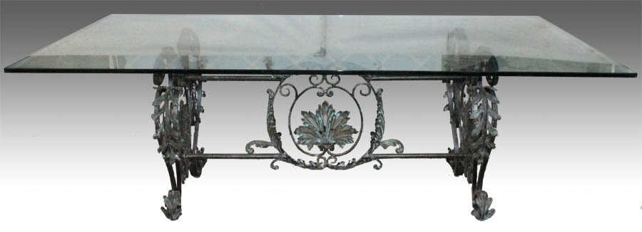 214: LARGE BRONZE WROUGHT IRON DINING TABLE GLASS TOP