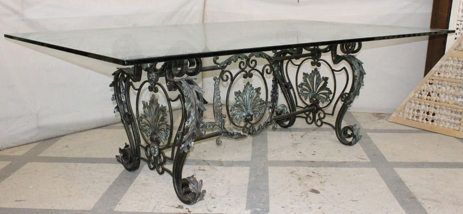 214: LARGE BRONZE WROUGHT IRON DINING TABLE GLASS TOP - 2