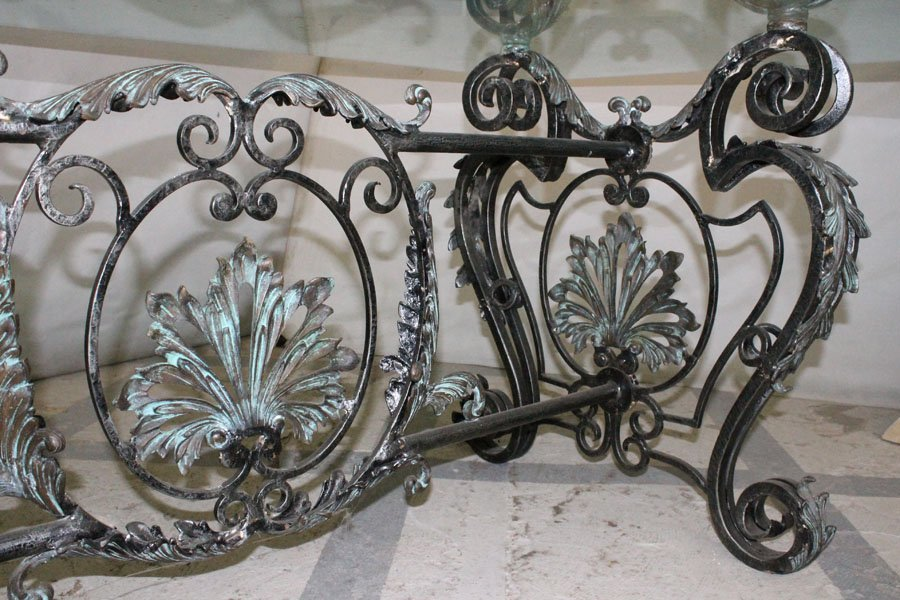 214: LARGE BRONZE WROUGHT IRON DINING TABLE GLASS TOP - 3