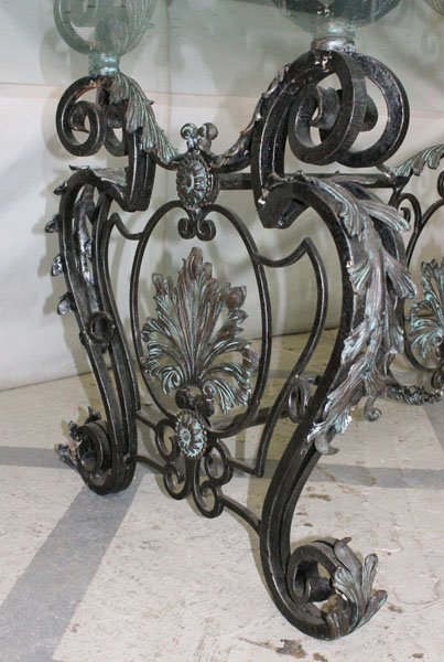 214: LARGE BRONZE WROUGHT IRON DINING TABLE GLASS TOP - 4