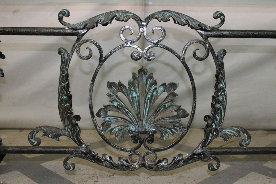 214: LARGE BRONZE WROUGHT IRON DINING TABLE GLASS TOP - 5