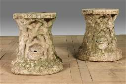 278: 2 VINTAGE CAST STONE GROTTO STOOLS ROOT FORM