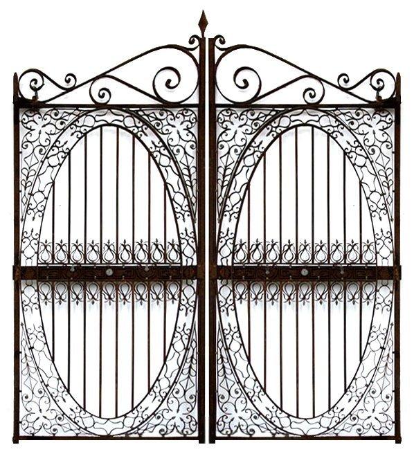 450: ANTIQUE WROUGHT IRON ENTRY GARDEN GATES