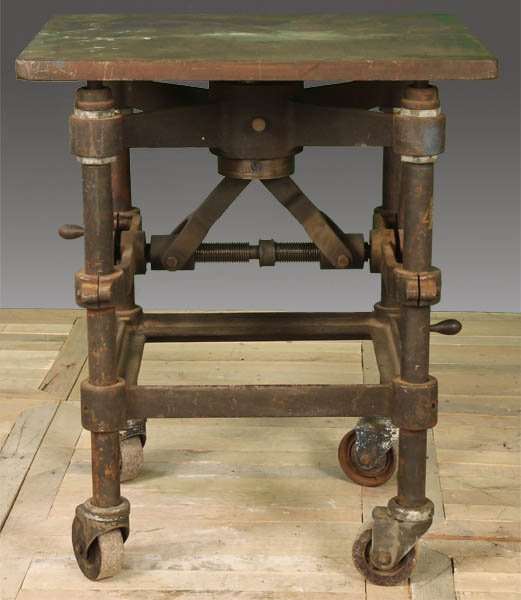 578: ANTIQUE INDUSTRIAL CAST IRON ADJUSTABLE TABLE - 2