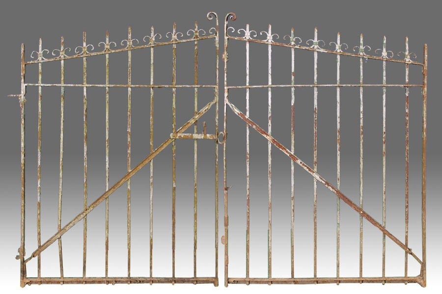 86A: Pair of wrought iron entry gates with old paint