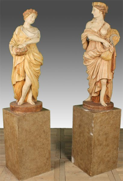 25A: 2 POLYCHROMED PAINTED CAST IRON GARDEN FIGURES