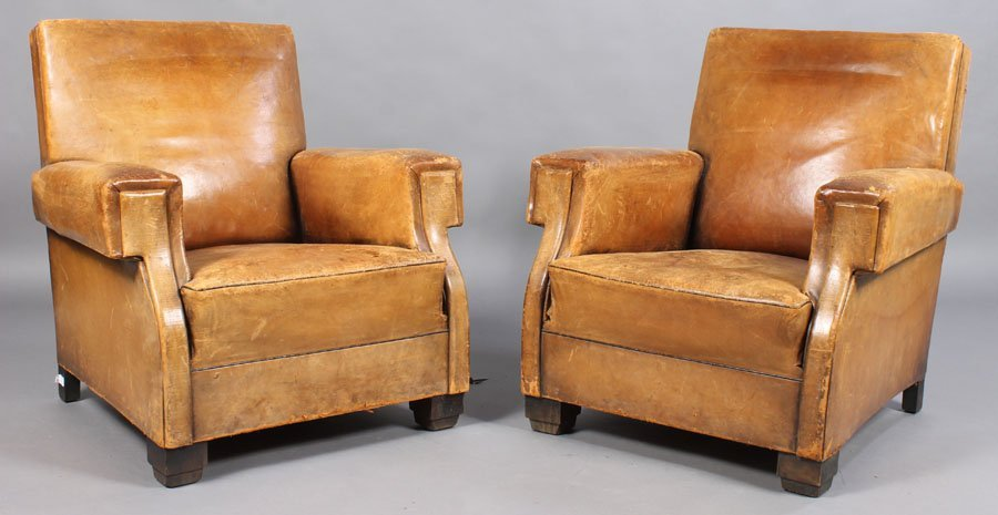 1: PAIR ART DECO LEATHER CLUB CHAIRS TAILORED BACK