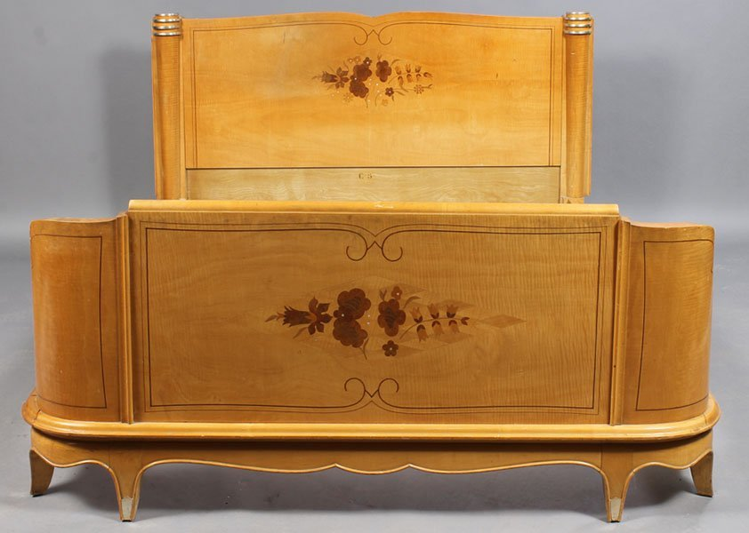 4: FRENCH JULES LELEU FIGURAL MAPLE BED