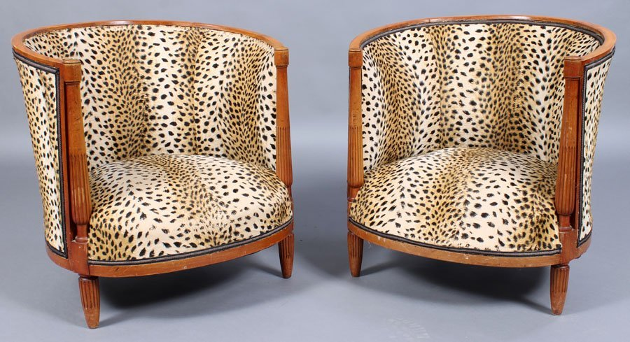 5: PAIR FRENCH BARREL BACK CLUB CHAIRS