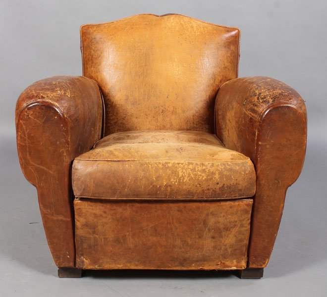 6: FRENCH ART DECO LEATHER CLUB CHAIR