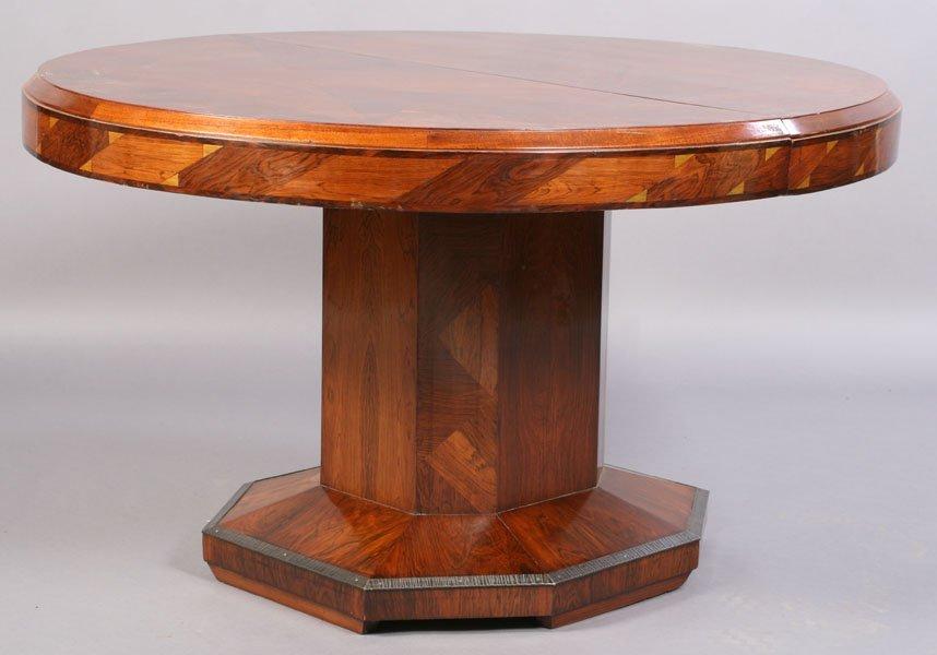 8: ART DECO PARQUERTY ROUND DINING TABLE
