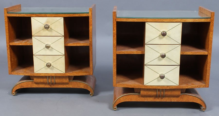 9: PAIR ART DECO BURLED WOOD SIDE CABINETS
