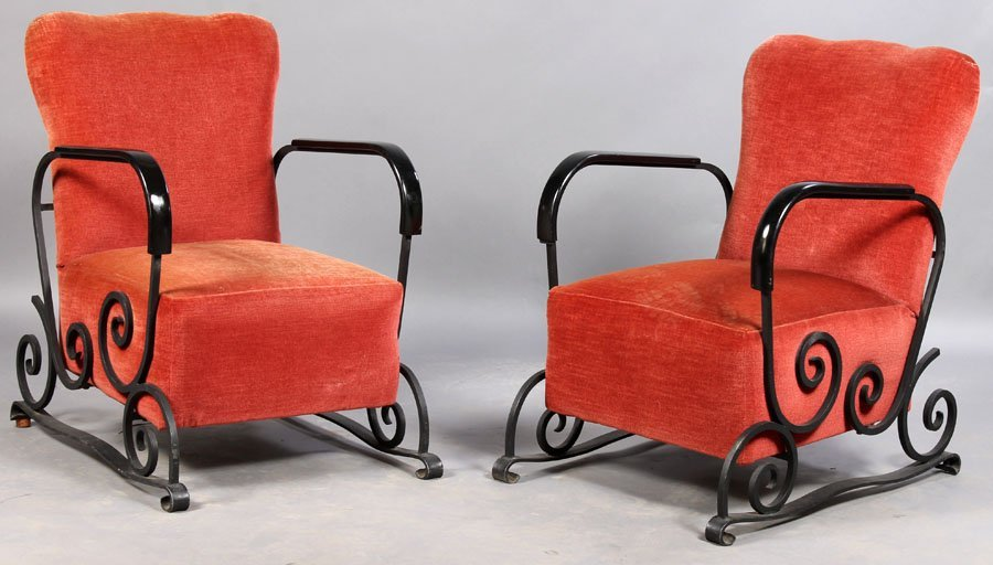 13: PAIR ART DECO WROUGHT IRON CLUB CHAIRS