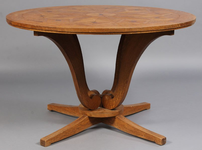 18: ART DECO STYLE CENTER TABLE INLAID TOP