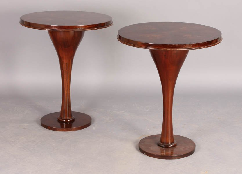 20: PAIR ART DECO LELEU STYLE INLAID SIDE TABLES