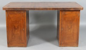 MAHOGANY ART DECO INLAID FITTED DESK C.1930