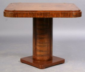 ART DECO OCCASIONAL TABLE BURLED TOP