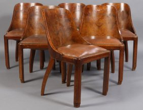 6 FRENCH ART DECO DINING CHAIRS LEATHER SEATS