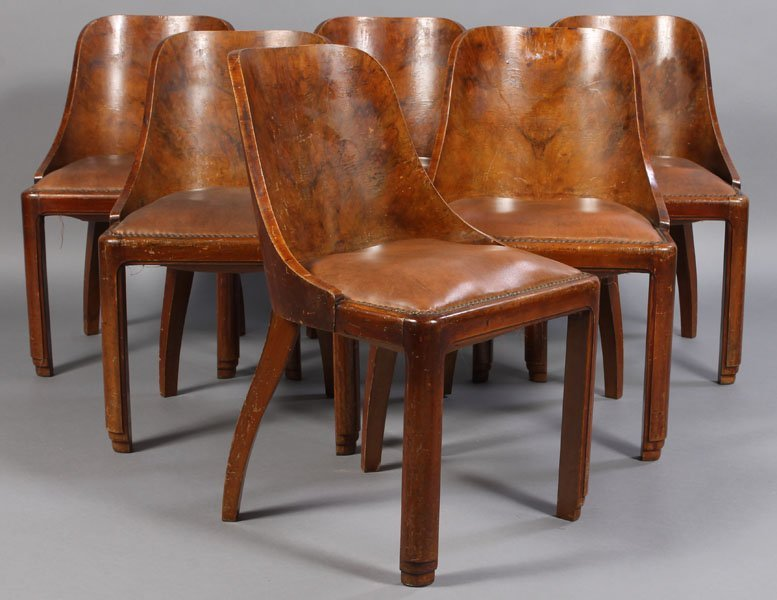 73: 6 FRENCH ART DECO DINING CHAIRS LEATHER SEATS
