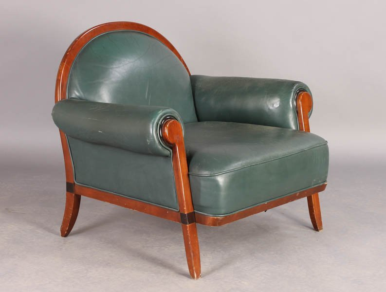 74: ART DECO STYLE LEATHER CLUB CHAIR C.1960