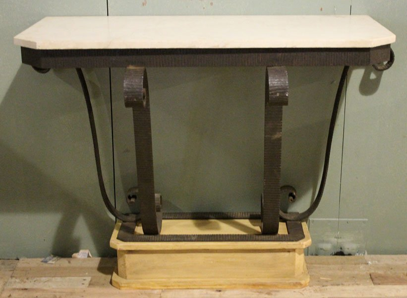 75: PAIR ART DECO WROUGHT IRON CONSOLES MARBLE TOP