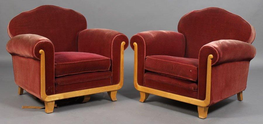 76: PAIR ART DECO CLUB CHIARS LOOSE CUSHION SEAT