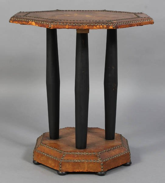 77: VINTAGE LEATHER COVERED TABLE NAILHEADS C.1940