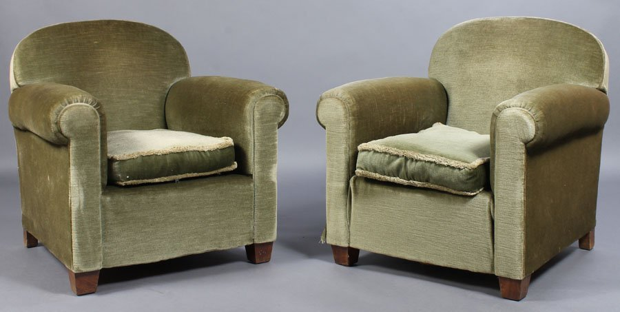 79: PR FRENCH MOHAIR CLUB CHAIRS C.1940