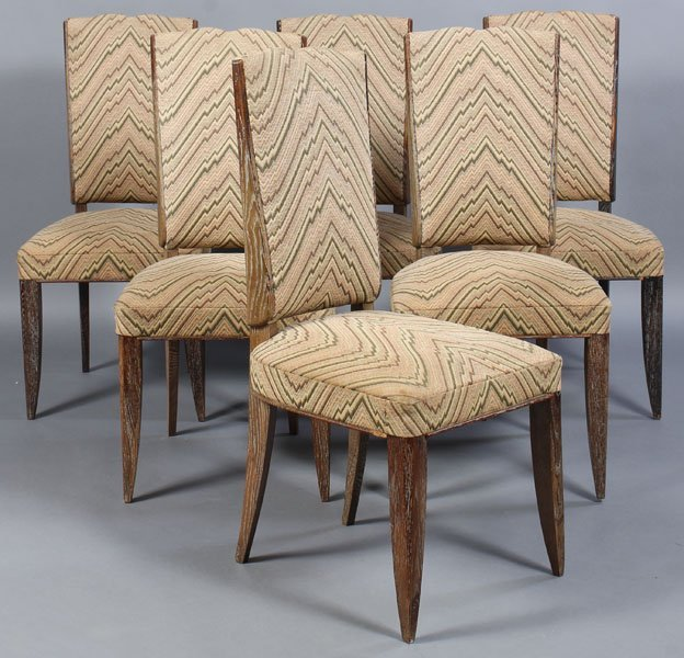 82: 6 ANDRE ARBUS CERUSED OAK DINING CHAIRS