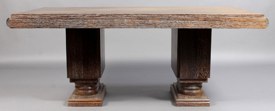 83: FRENCH ART DECO CERUSED OAK DINING TABLE