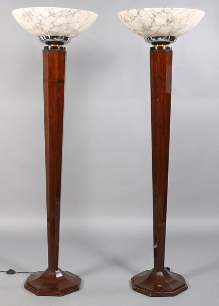 88: PAIR ART DECO STYLE FLOOR LAMPS ALABASTER SHADES