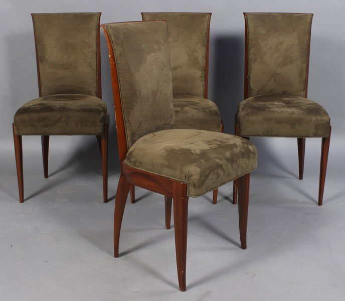 91: SET 4 FRENCH LABELED GOUFFE PARIS DINING CHAIRS