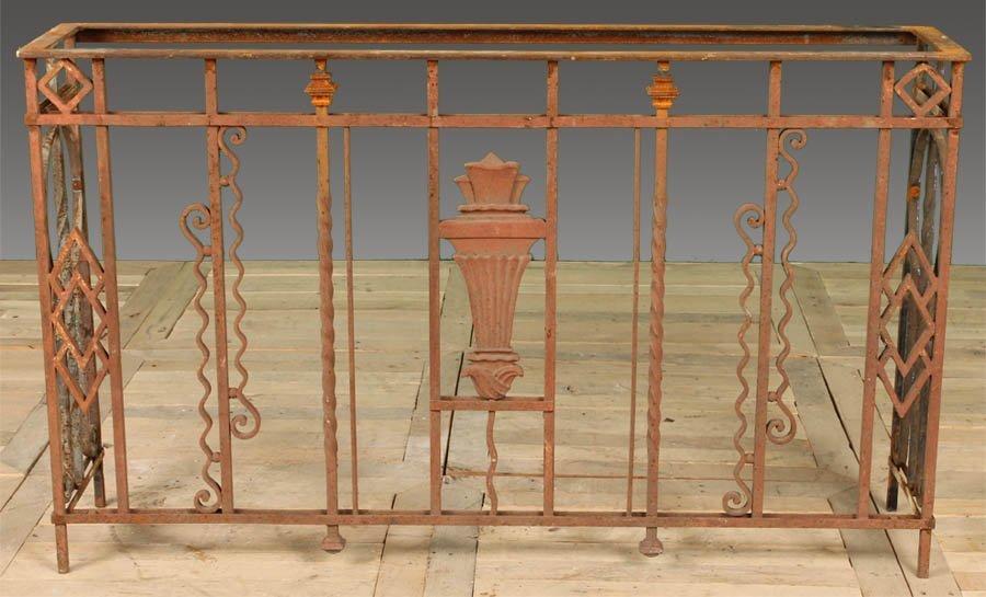92: ANTIQUE GARDEN CAST IRON TORCH TABLE BASE