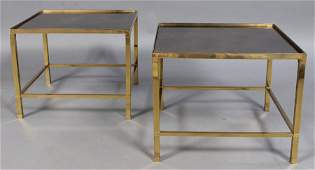 PAIR HEAVY BRONZE SIDE TABLES MOTTLED GLASS TOPS