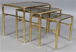 261: SET 3 FAUX BAMBOO BRASS NESTING TABLES
