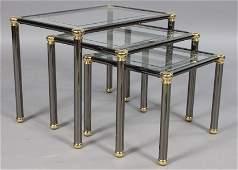 262: SET 3 CHROME BRASS NESTING TABLES GLASS TOPS