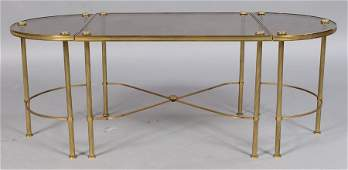 328: FRENCH EMPIRE STYLE BRASS 3 PART COFFEE TABLE
