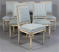 411: SET SIX FRENCH DIRECTOIRE STYLE DINING CHAIRS