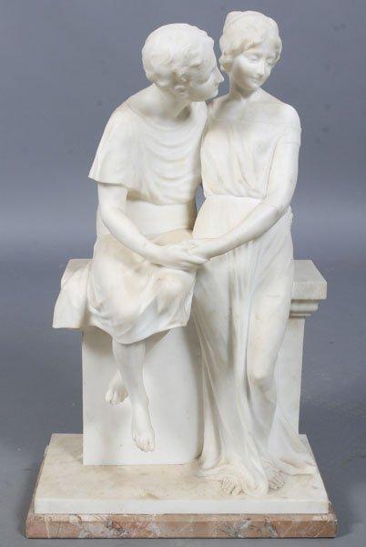 584: GUGLIELMO PUGI ITALIAN MARBLE SIGNED SCULPTURE