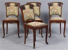 49A: SET 4 ART NOUVEAU SIDE CHAIRS UPHOLSTERED
