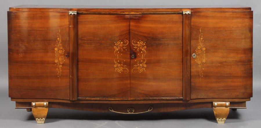 20A: ART DECO INLAID SIDEBOARD FRENCH LELEU STYLE
