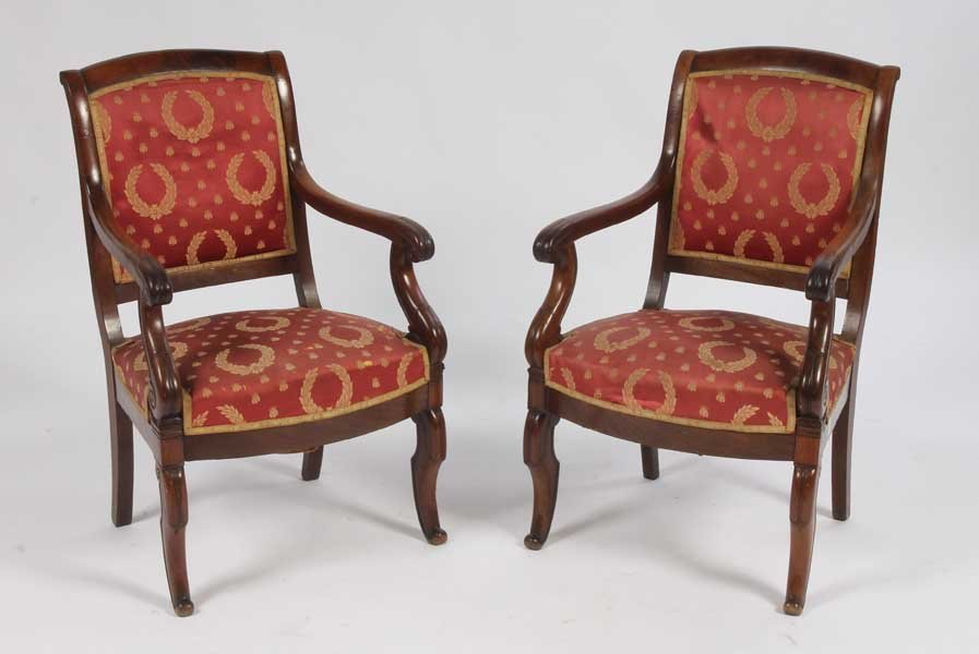 3: PAIR FRENCH RESTAURATION ARM CHAIRS UPHOLSTERED