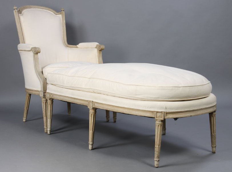 11: Louis XVI style carved and painted duchesse chaise