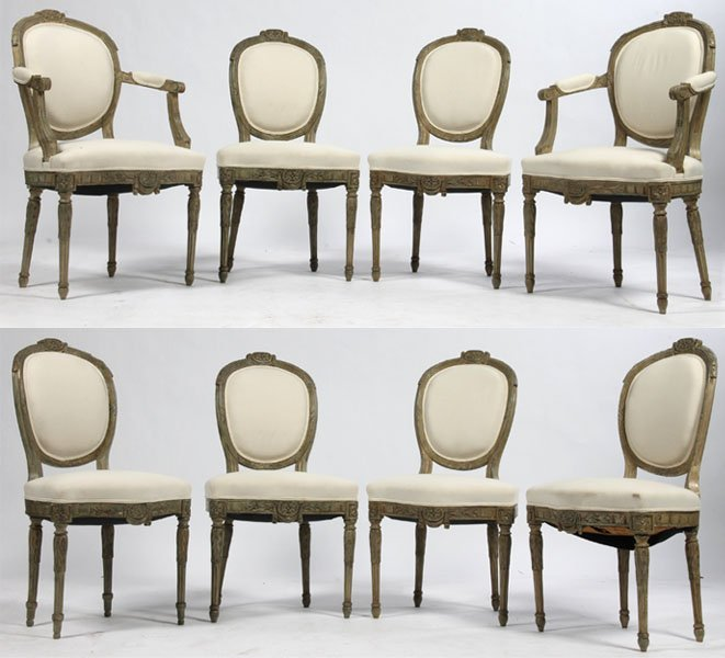 14: 8 ITALIAN DINING CHAIRS 2 ARM, 6 SIDE 18TH CENT.