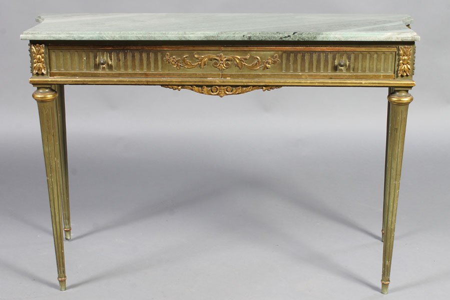 15: FRENCH DIRECTOIRE PAINT GILT DECORATED CONSOLE