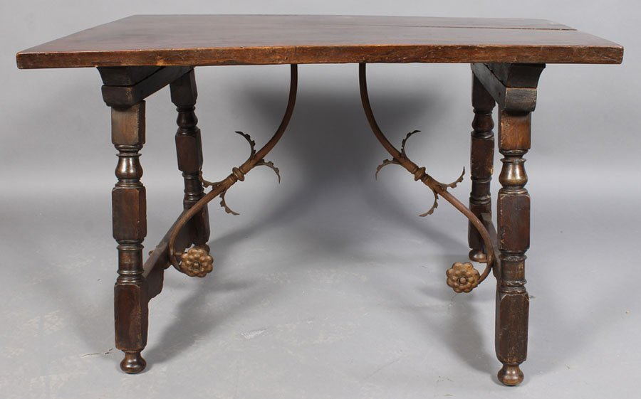 18: CONTINENTAL WORK TABLE WALNUT TOP WROUGHT