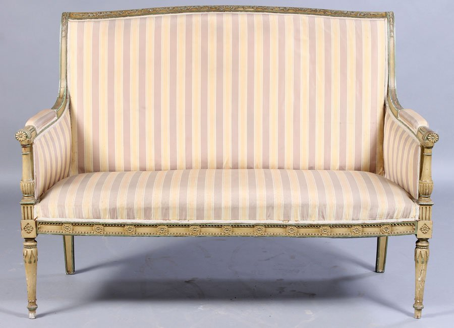 19: FRENCH DIRECTOIRE CARVED PAINT SETTEE