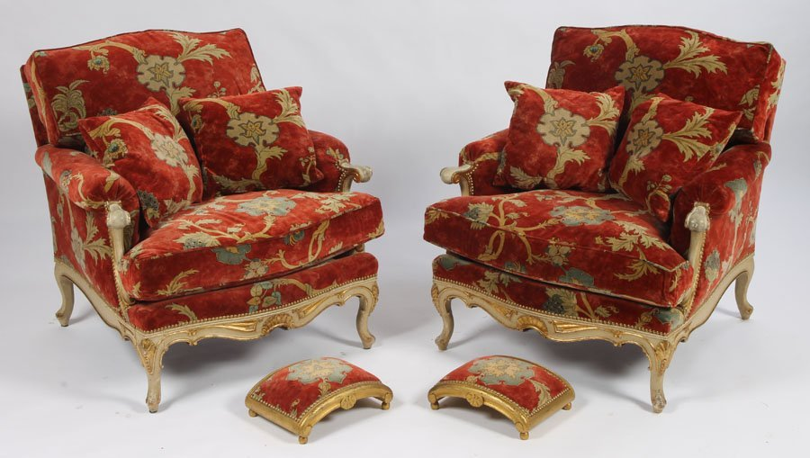 99: PAIR FRENCH LOUIS XV GILT CARVED BERGERE CHAIRS