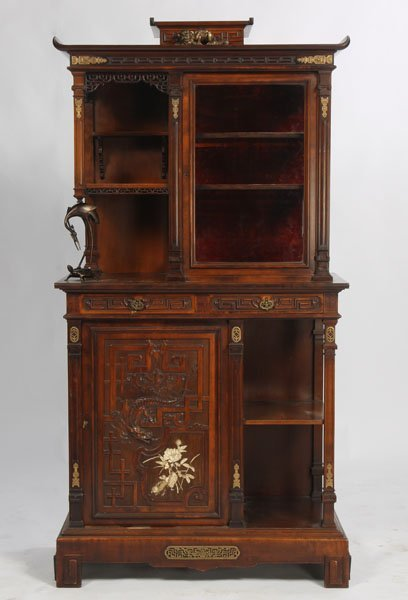 140: FRENCH IVORY INLAID CABINET SIGNED VIARDOT