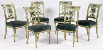 264: 6 FRENCH CARVED PAINTED DIRECTOIRE DINING CHAIRS
